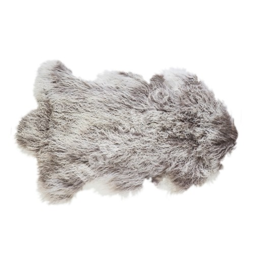 Natural sheepskin TIBET L, 60x95cm, grey - white top