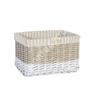 Korv MAX-3, 40x26xH24cm, antiikhall/valge punutis, beeži triibuline kangas