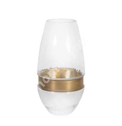 Vase LUXO, D9xH27cm, glass/ golden ring