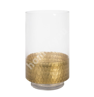 Vase LUXO, D15xH25cm, glass/ golden bottom