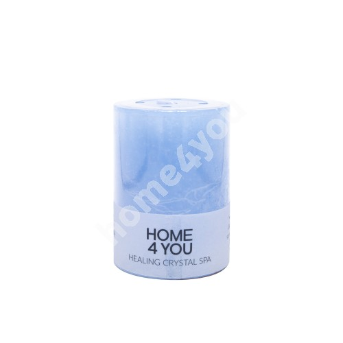 Candle HEALING CRYSTAL SPA, D6.8xH9.5cm, blue ( scent- ocean)