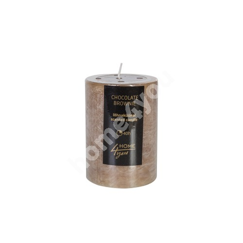 Candle CHOCOLATE BROWNIE, D6.8xH9.5cm, light brown ( scent- chocolate)