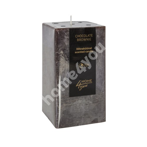 Candle CHOCOLATE BROWNIE, 7.5x7.5xH15cm, dark brown ( scent- chocolate)