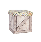 Пуф / ящик с крышкой VENTURA 36x36xH36см, мозаика/светло-жёлтый, материал: PU-кожзаменитель, складной