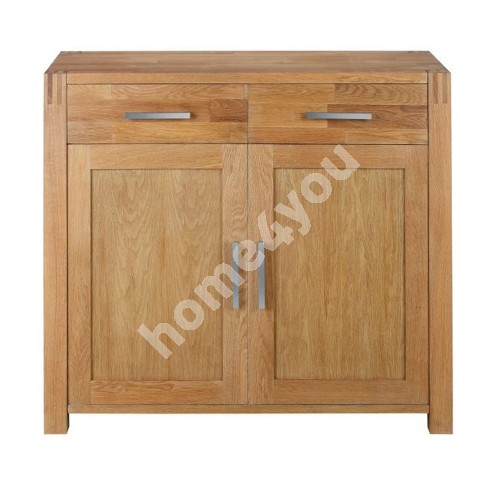 Sideboard CHICAGO NEW with 2-doors and 2-drawers, 97x44xH86cm, wood: oak veneer, color: natural
