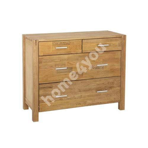 Sideboard CHICAGO with 4-drawers, 105x45xH84cm, wood: oak veneer, color: natural, finish: oiled