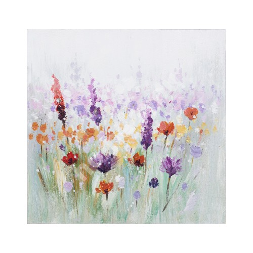 Oil painting 30x30cm, colorful flowers