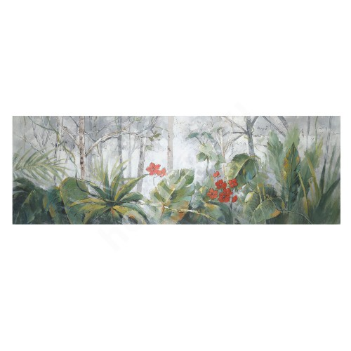 Oil painting 50x150cm, trees/ palm leaves