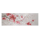Oil painting 50x150cm, white/red sakura