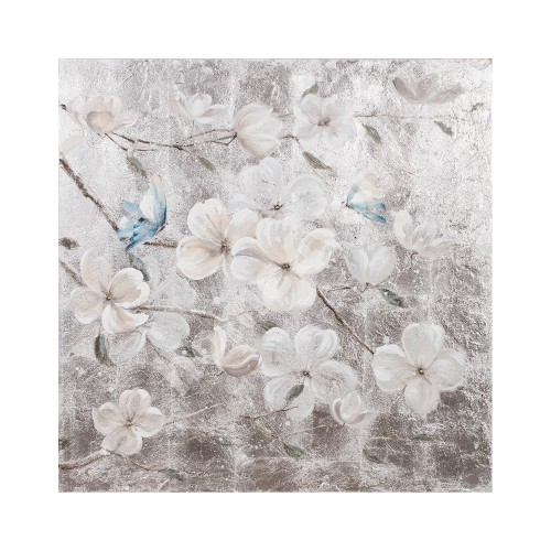 Oil painting 90x90cm, white flower / butterfly