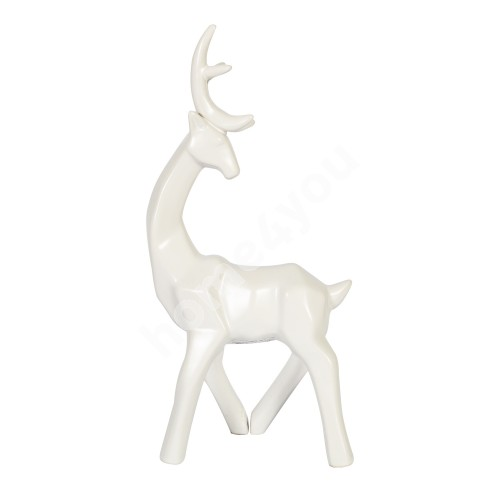 Decoration DEER, standing, white ceramic