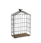 Полка BIRD CAGE-2, 20x10xH29см, чёрный металл / дерево