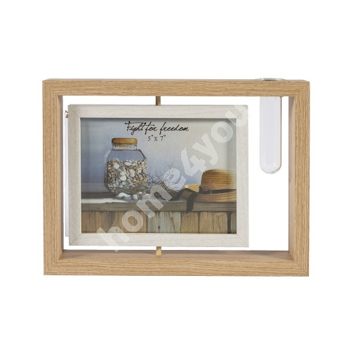 Photo frame with vase GOOD TIME, 27x19cm, brown