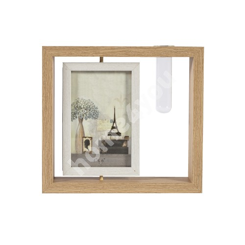 Photo frame with vase GOOD TIME, 24x21cm, brown