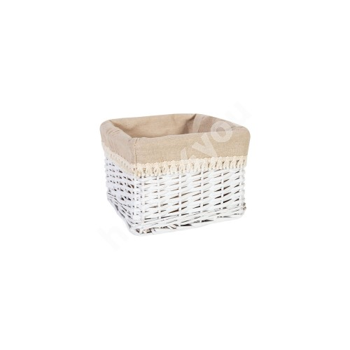 Basket MAX-5, 22x22xH15cm, weave, color: white, with fabric