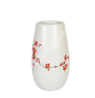 Ceramic vase YOKO, keskmine, white/ red blossom
