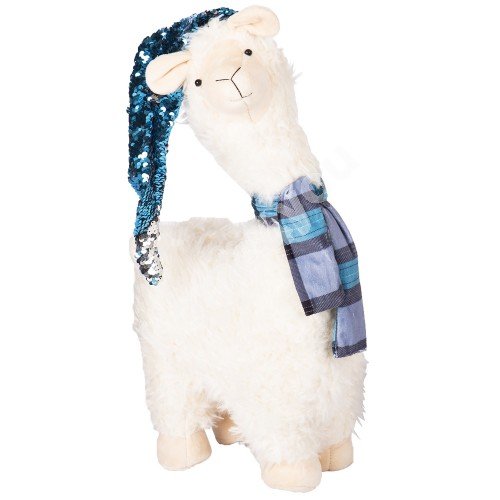 Lama L, with blue hat and scarf, H52cm