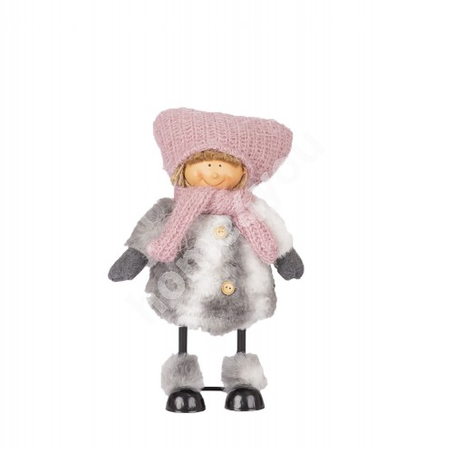 Standing boy with metal legs, pink / grey coat, H29cm