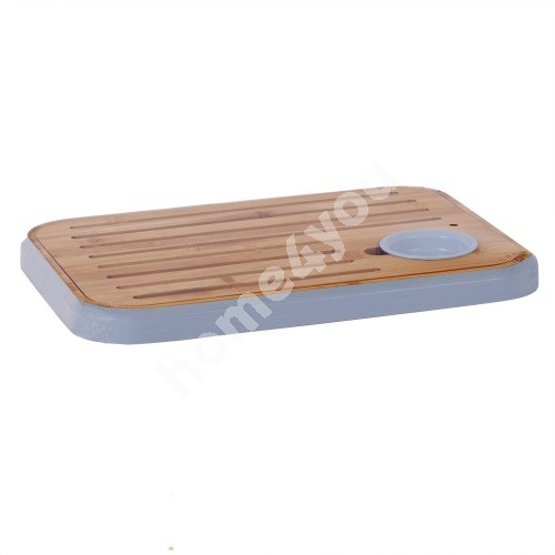 Cutting board / serving board with salsa bowl GOURMET 36x25.5cm, bamboo / blue