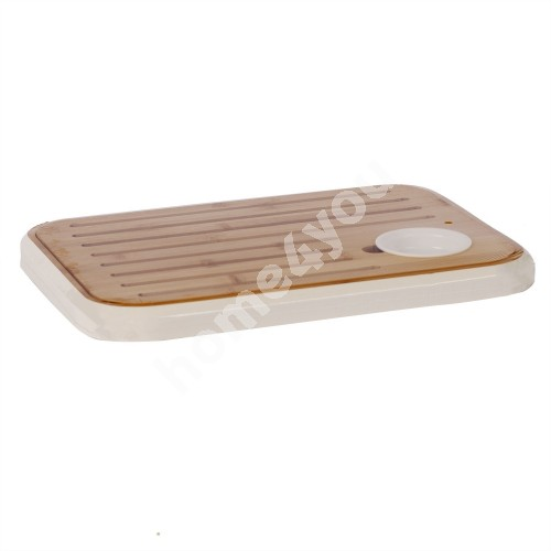 Cutting board / serving board with salsa bowl GOURMET 36x25.5cm, white