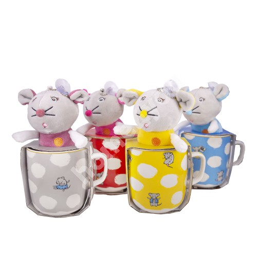 Mug with toy MOUSE, 400ml, mix