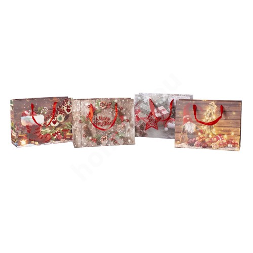 Gift bag SPARKS-1, 18x24x10cm, red glitter, mix