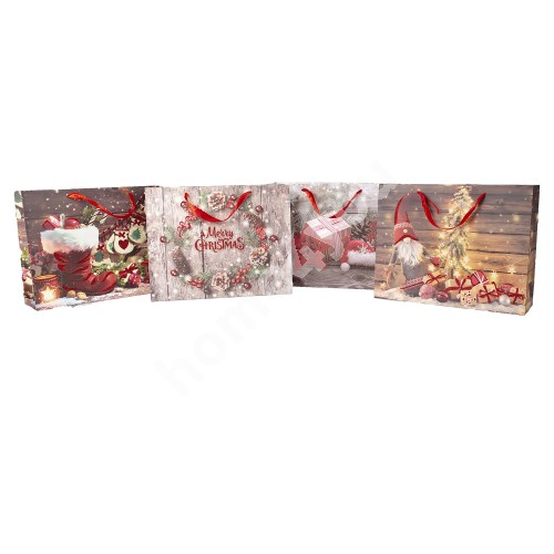 Gift bag SPARKS-3, 30x39x12cm, red glitter, mix