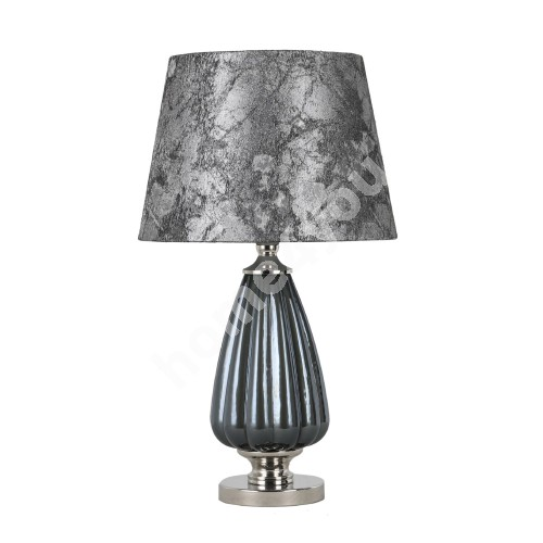 Table lamp LUXO, H52cm, dark silver glass, shade: grey jacquard fabric