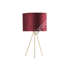Laualamp TRINITY H42cm, kuppel: punane samet, jalad: kuldsed pulkjalad