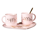 Kruusid/ taldrikud 2x MR/MRS MARBLE, 300ml, roosa