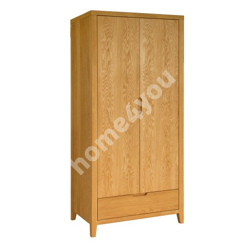 Wardrobe CHAMBA with 2-doors and 1-drawers, 90x58xH198cm, wood: oak veneer, color: natural
