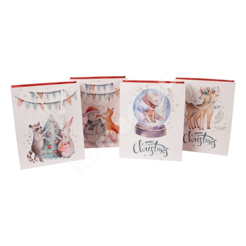 Gift bag CARTOON, 26x32x12cm, white/ red, mix 4 colors