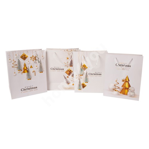 Gift bag GOLDEN PARTY, 26x32x12cm, white/ gold, mix 4 colors