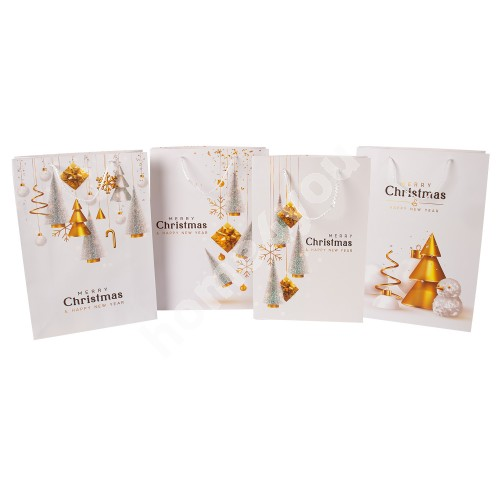 Gift bag GOLDEN PARTY, 31x44x12cm, white/ gold, mix 4 colors