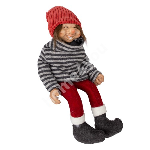 Funny santa boy UDO, with a grey sweater, H15cm