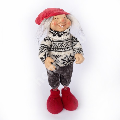Funny dwarf boy PEPPY, with red hat, H34cm