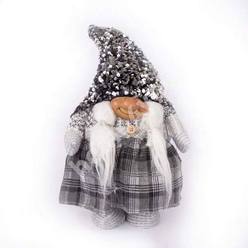 Santa wife SILVER STAR, silver glitter hat, standing H30cm