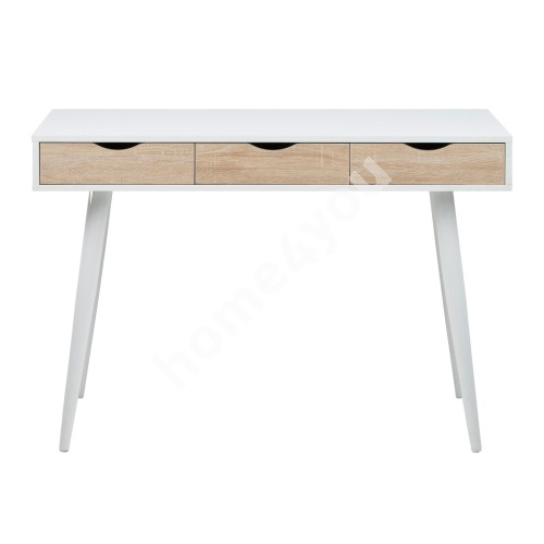 Desk NEPTUN with 3 drawers, 110x50xH77cm, frame - white / drawers - oak