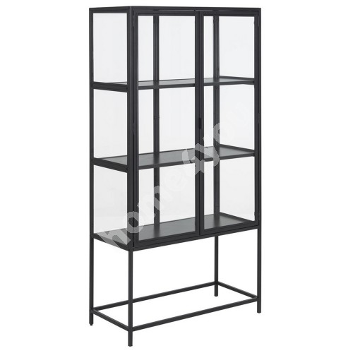 Glass cabinet SEAFORD 77x35xH150cm, with 2-doors, 3-shelves, black