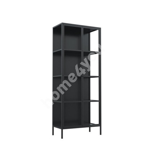 Display cabinet NEWCASTLE, H160cm, black steel