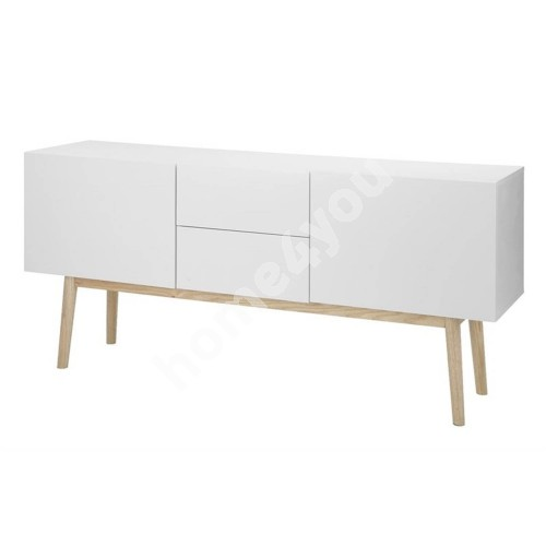 Sideboard BERGEN 150x40xH71,5cm, 2-doors and 2-drawers, material: chipboard, color: white, legs: oak