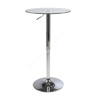 Baarilaud NIDO D60xH83-104cm, lauaplaat: läbipaistev klaas 8mm, lauajalg: kroomitud