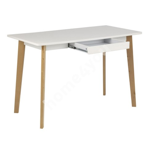 Desk EMMA with 1 drawer, 117x58xH75.5cm, white / natural birch