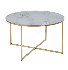 Diivanilaud ALISMA D80xH45cm, lauaplaat: 6mm karastatud marmorimitatsioon klaas, jalad: kroomitud metall, värv: kuldne