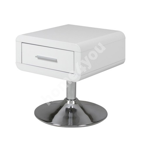 Night stand COMFORT 40x40xH45cm, with drawer, material: chipboard, color: white high gloss, leg: chromed metal
