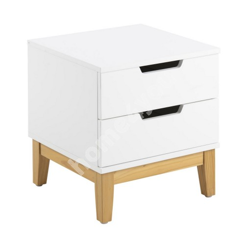 Night stand BUCA 40x40xH45cm, 2-drawers, material: wood, color: white, finish: laquered, legs: nature wood