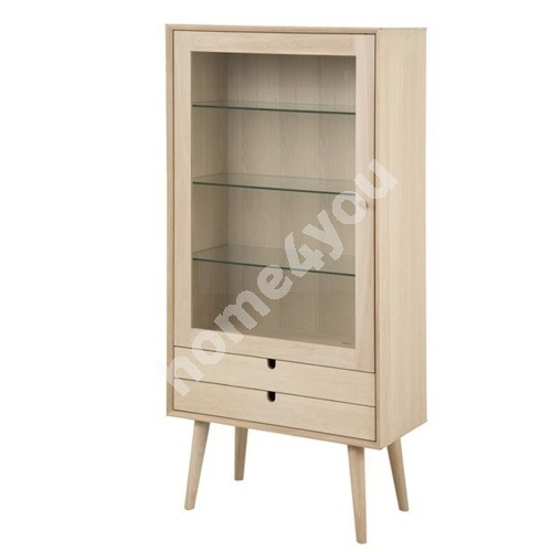 Glass cabinet CENTURY, 72x36xH143,2cm, 1-glass door and 2-drawers, material: solid/veneer oak, finish: white pigmented o