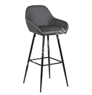 Baaritool CANDIS 52,5x53xH101,5cm, iste ja seljatugi: kunstnahk, värvus: hall, oranžid õmblused, jalad: must metall