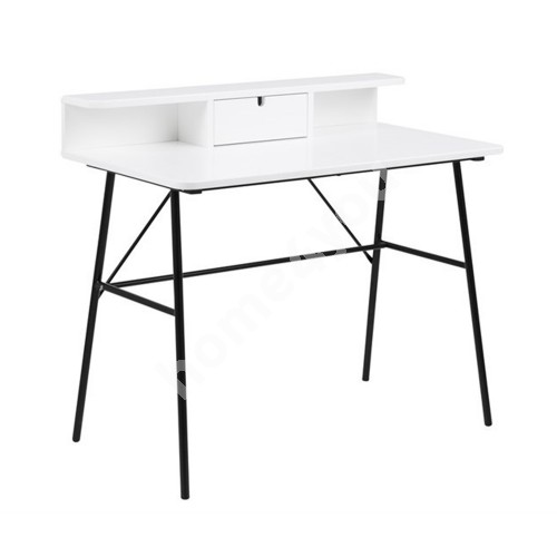 Desk PASCAL 100x55xH88,8cm, with drawer and shelf, table top: wood, color: matt white, legs: black metal