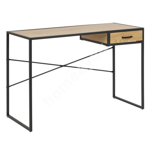Desk SEAFORD 110x45xH75cm, with one drawer, table top: paper wild oak 3, frame: black